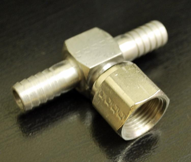 SS 3/8 Barb Tee with 3/8 Swivel Nut, 7045