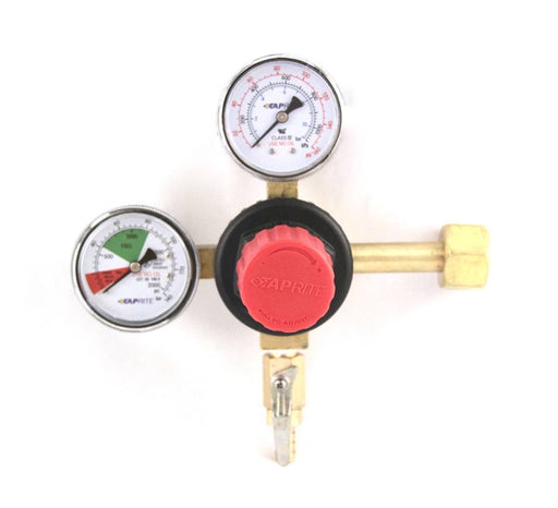 "T5741PMHPT:  Primary CO2 Regulator, 1P1P, High Pressure, High Performance, CGA320 Inlet, 5/16"" Barb Shut-off Outlet w/Check, 160lb and 2000lb Gauges"