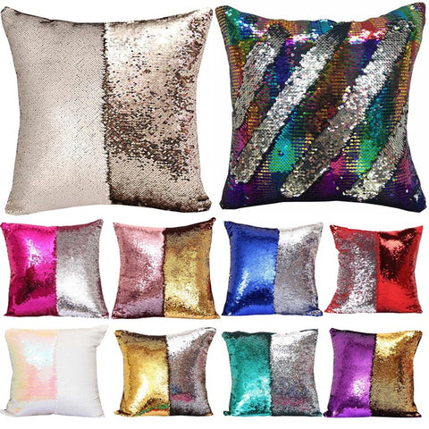 Dazzling Sequin Mermaid Throw Pillow Cover | Happy Comforts