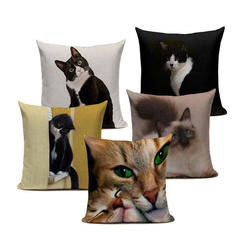 Cat Throw Pillow Cover | Happy Comforts