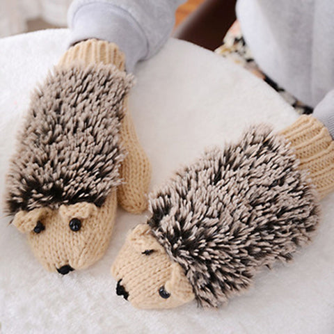 Lovable Hedgehog Knitted Mittens