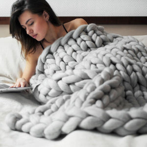 Chunky Hand Knitted Blanket | Happy Comforts
