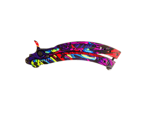 2.0 Butterfly Knife Trainer Hyper Beast Full Color Handle