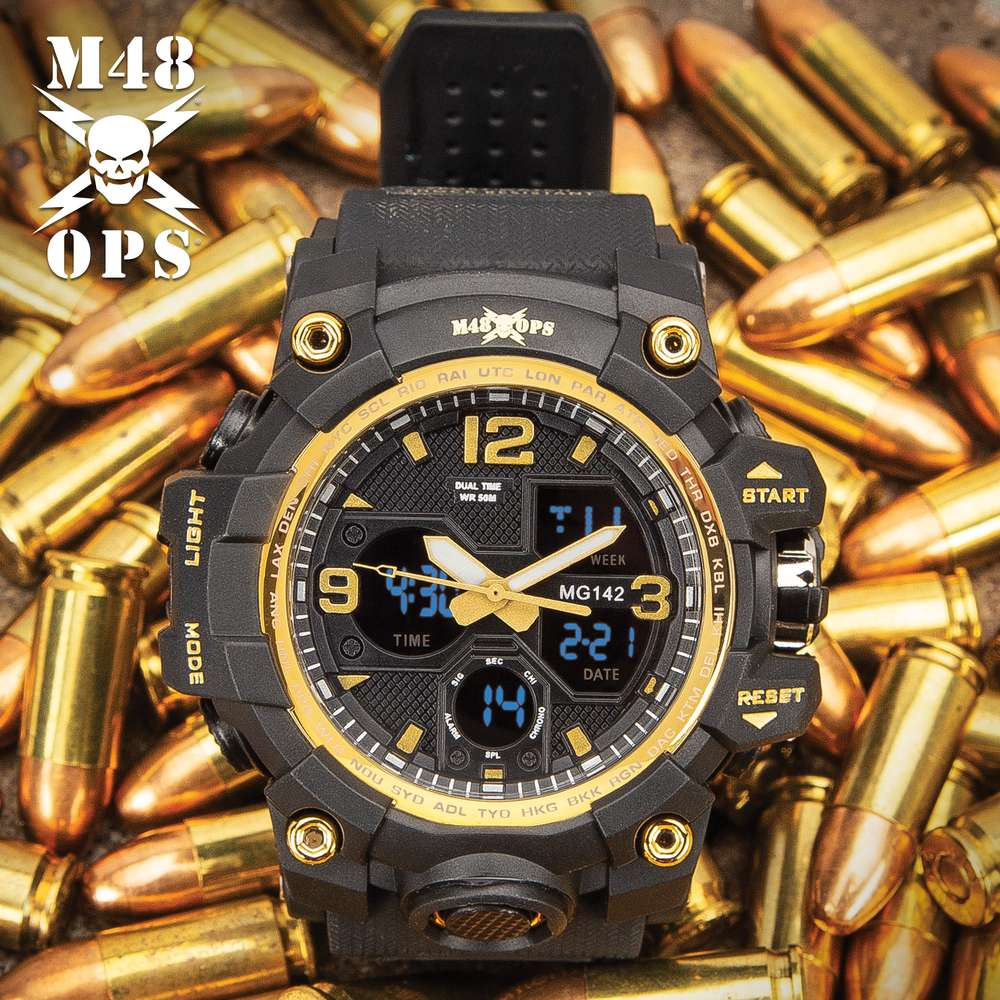 M48 Black And Gold Analog And Digital Tactical Watch - Water-Resistant Watch, Comfortable PU Resin Band, Hard PC And Stainless Steel Case, Clear Resin Glass - ELITE OP KNIVES