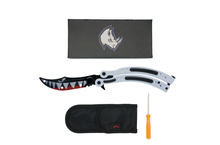 WHITE BOMBER SHARK BUTTERFLY TRAINER - ELITE OP KNIVES