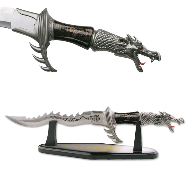 FANTASY DRAGON DAGGER BLACK DISPLAY - ELITE OP KNIVES