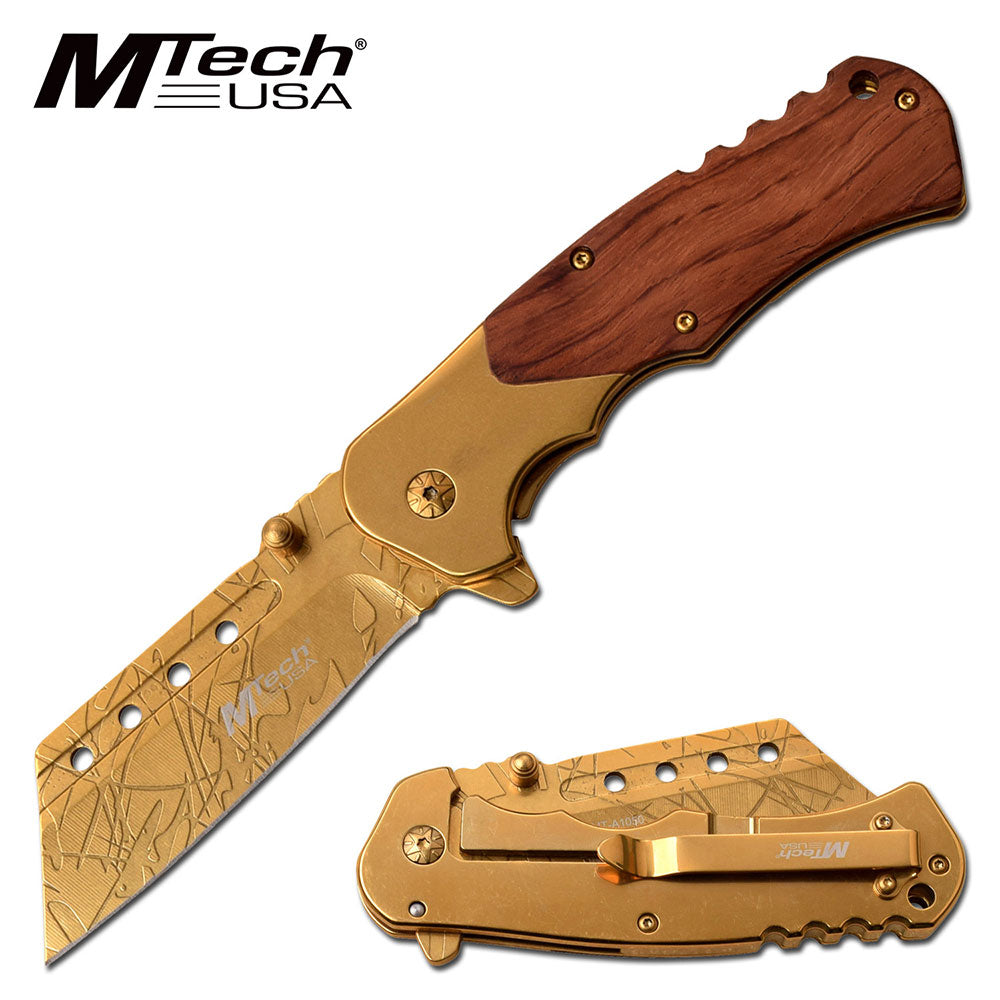 Golden Cleaver Pocket Knife - ELITE OP KNIVES