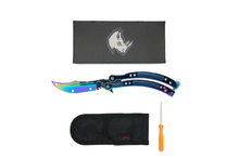 FADED RAINBOW BUTTERFLY TRAINER - ELITE OP KNIVES