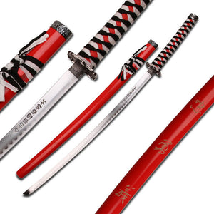 Japanese Samurai Red and Black Sword - ELITE OP KNIVES