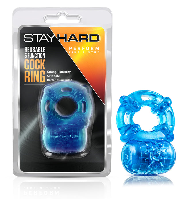 Stay Hard Reusable 5 Function Vibrating Cock Ring - Blue BL-30802