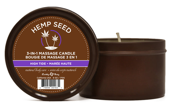 Hemp Seed 3-in-1 Massage Candle - High Tide - 6 Oz. EB-HSC053