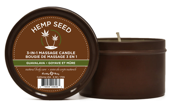 Hemp Seed 3-in-1 Massage Candle - Guavalava - 6 Oz. EB-HSC068