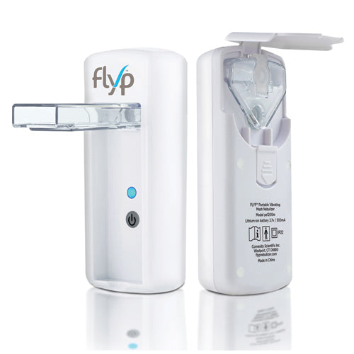 Flyp Portable Nebulizer's view front and back with its back opened