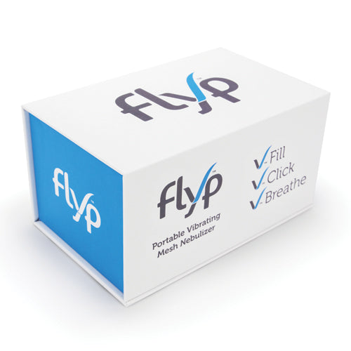 Flyp Portable Nebulizer in it's box packaging - white color on the top, front and bottom; blue color on the sides
