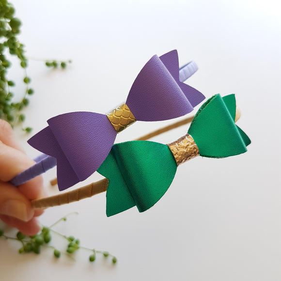 Satin Headband - Emerald or Purple