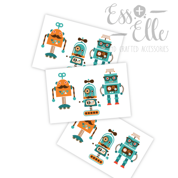 Hipster Robots - Temporary Tattoos