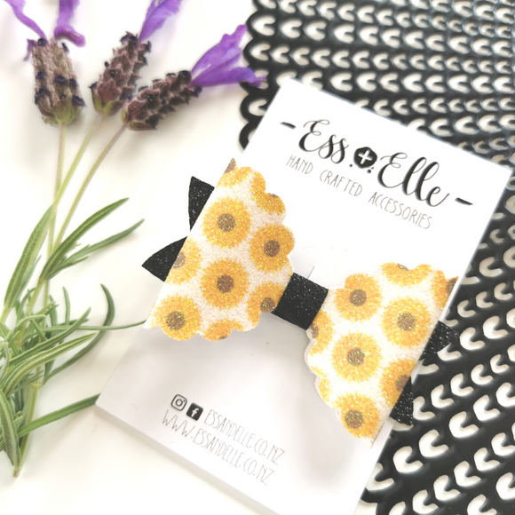 RTS - Sunflower Glitter Bow Clip