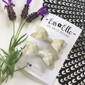RTS - Ivory + Gold Check Mini Bow Clips