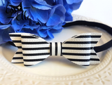 Black + White Stripe - Clips and Headbands