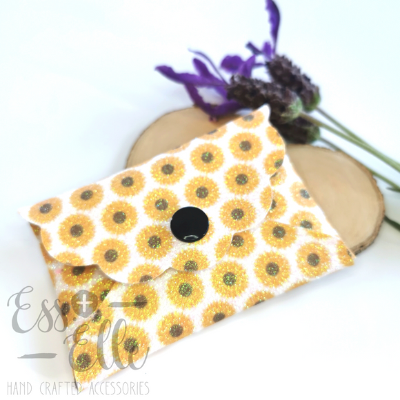 Coin Purse - Glitter Sunflower