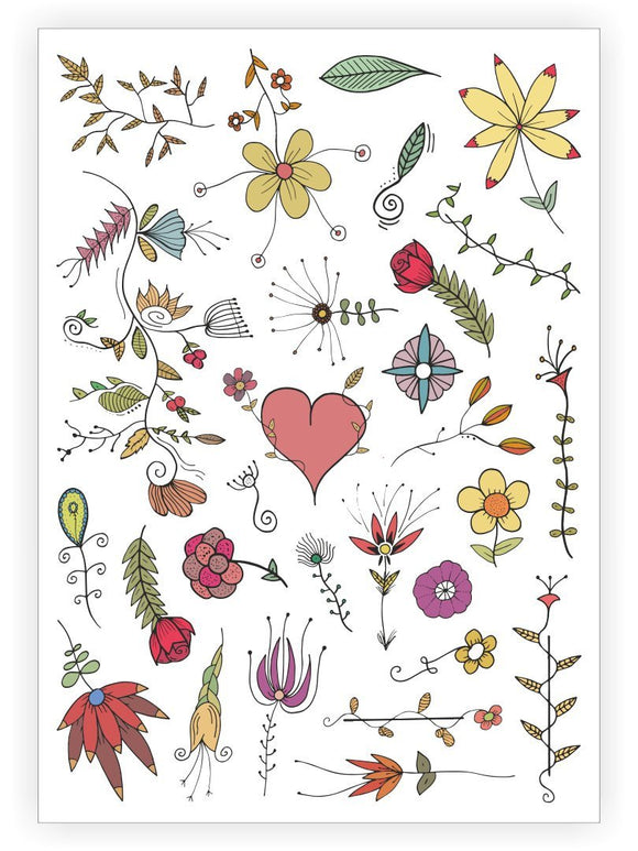 Flowers with Heart - Temporary Tattoos