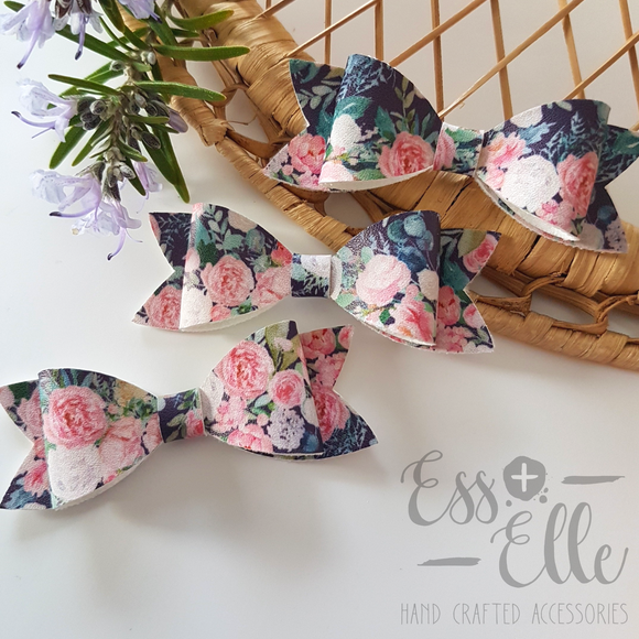 Navy Blooms - Clips & Headbands