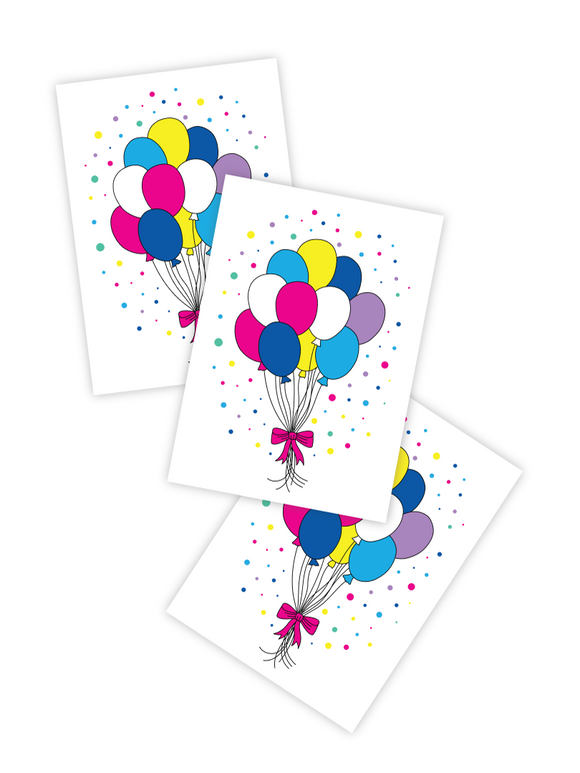 Party Balloons - Temporary Tattoos