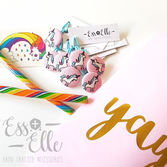 Pink Unicorn - Button Hair Ties & Clips