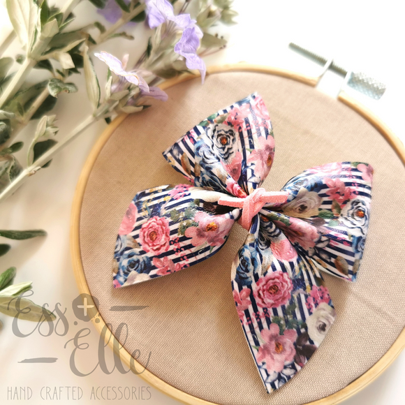 Pinstripe Floral - Clips and Headbands