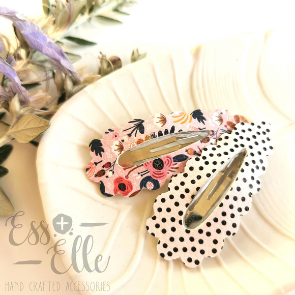 Snap Clips - Pink Floral & Cream Spots