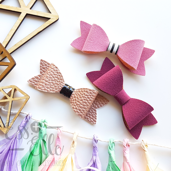 Bow Trio - Mulberry, Nude + Pink