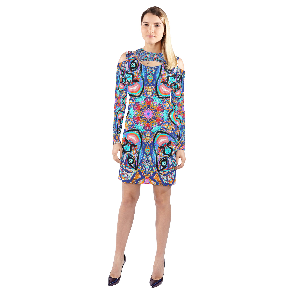 Thleudron Women's Vicking Cold Shoulder Long Sleeve Dress (Model D37) - Thleudron