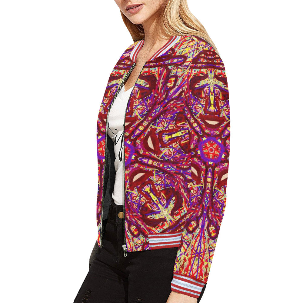 Thleudron Drum All Over Print Bomber Jacket for Women (Model H21) - Thleudron
