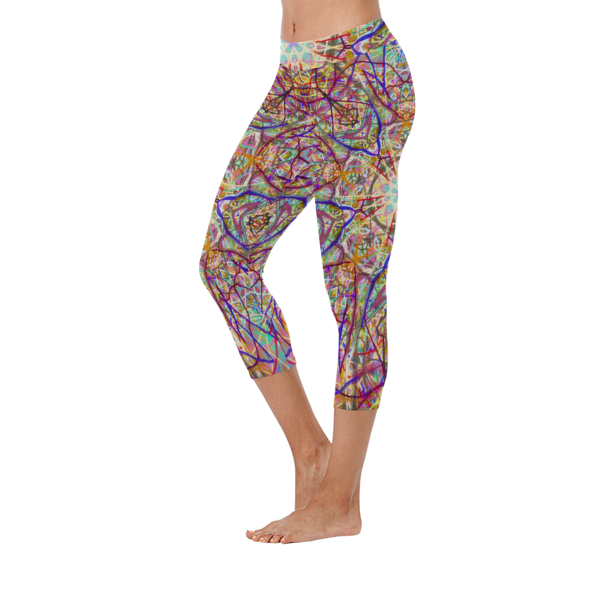Thleudron Singularity New Low Rise Capri Leggings (Flatlock Stitch) (Model L09) - Thleudron