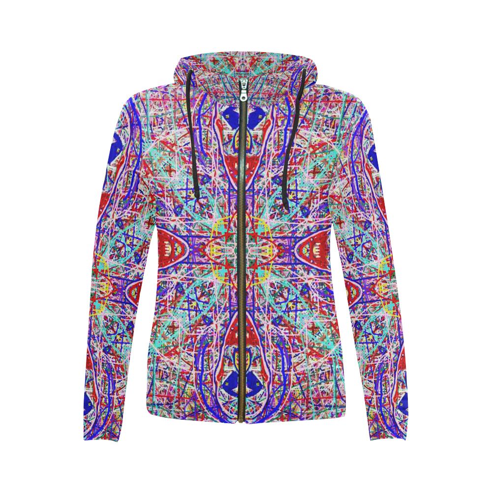 Thleudron Hamatsa All Over Print Full Zip Hoodie for Women (Model H14) - Thleudron