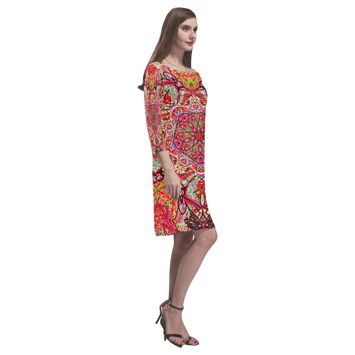 Thleudron Women's The Ring Rhea Loose Round Neck Dress(Model D22) - Thleudron
