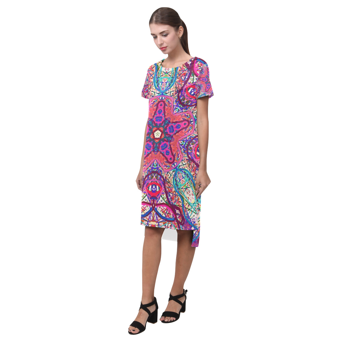 Thleudron Women's Mermaids Short Sleeves Casual Dress(Model D14) - Thleudron