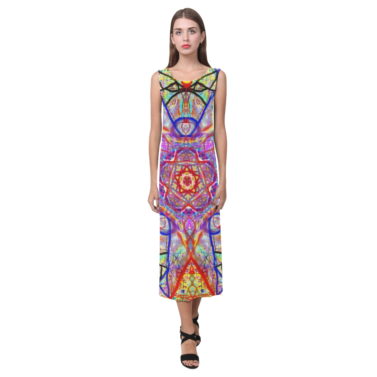 Thleudron Women's Whimsical Phaedra Sleeveless Open Fork Long Dress (Model D08) - Thleudron