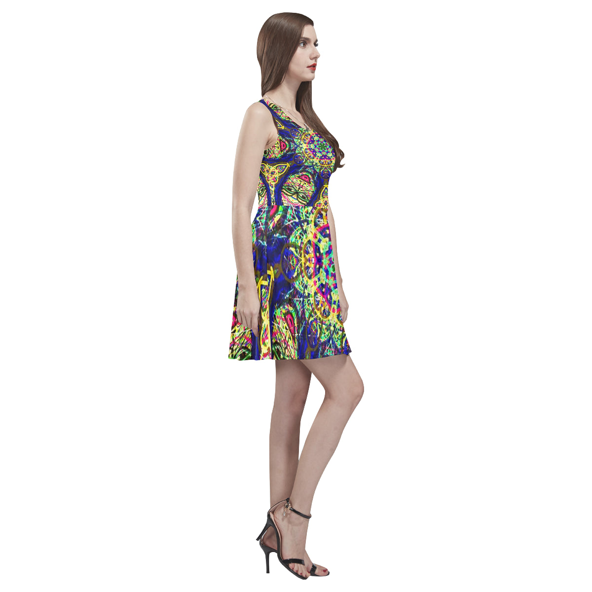 Thleudron Night Thea Sleeveless Skater Dress(Model D19) - Thleudron