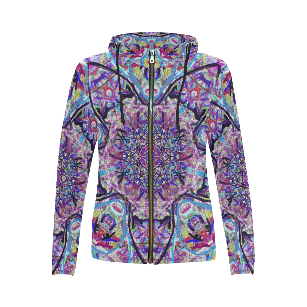 Thleudron Women's Dream Catcher All Over Print Full Zip Hoodie for Women (Model H14)
