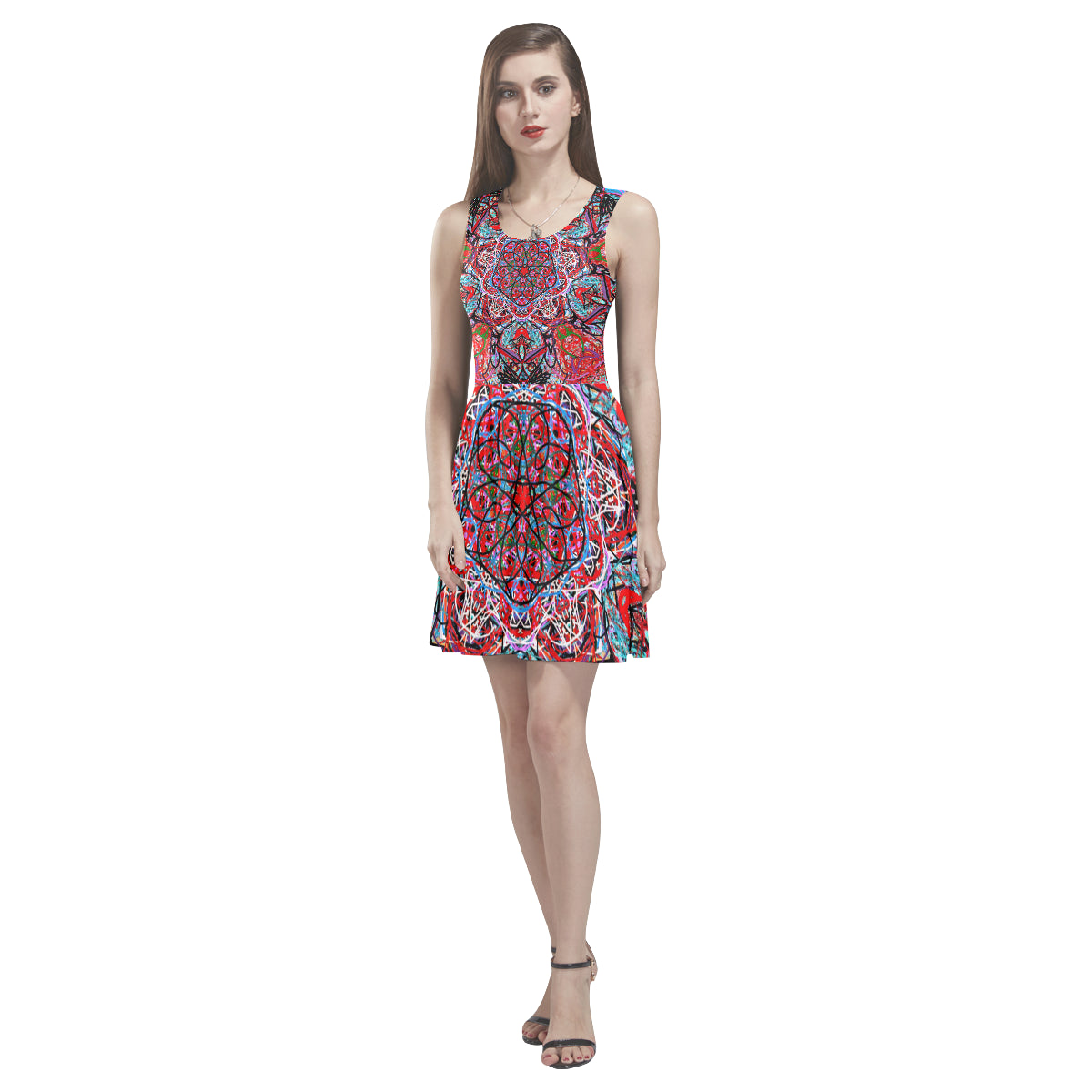 Thleudron Women's The Ring Thea Sleeveless Skater Dress(Model D19) - Thleudron