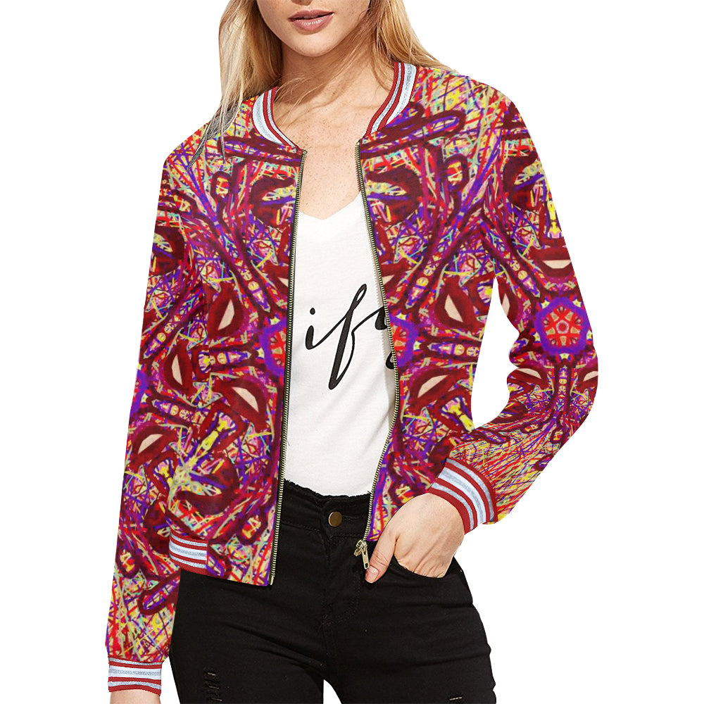 Thleudron Drum All Over Print Bomber Jacket for Women (Model H21)