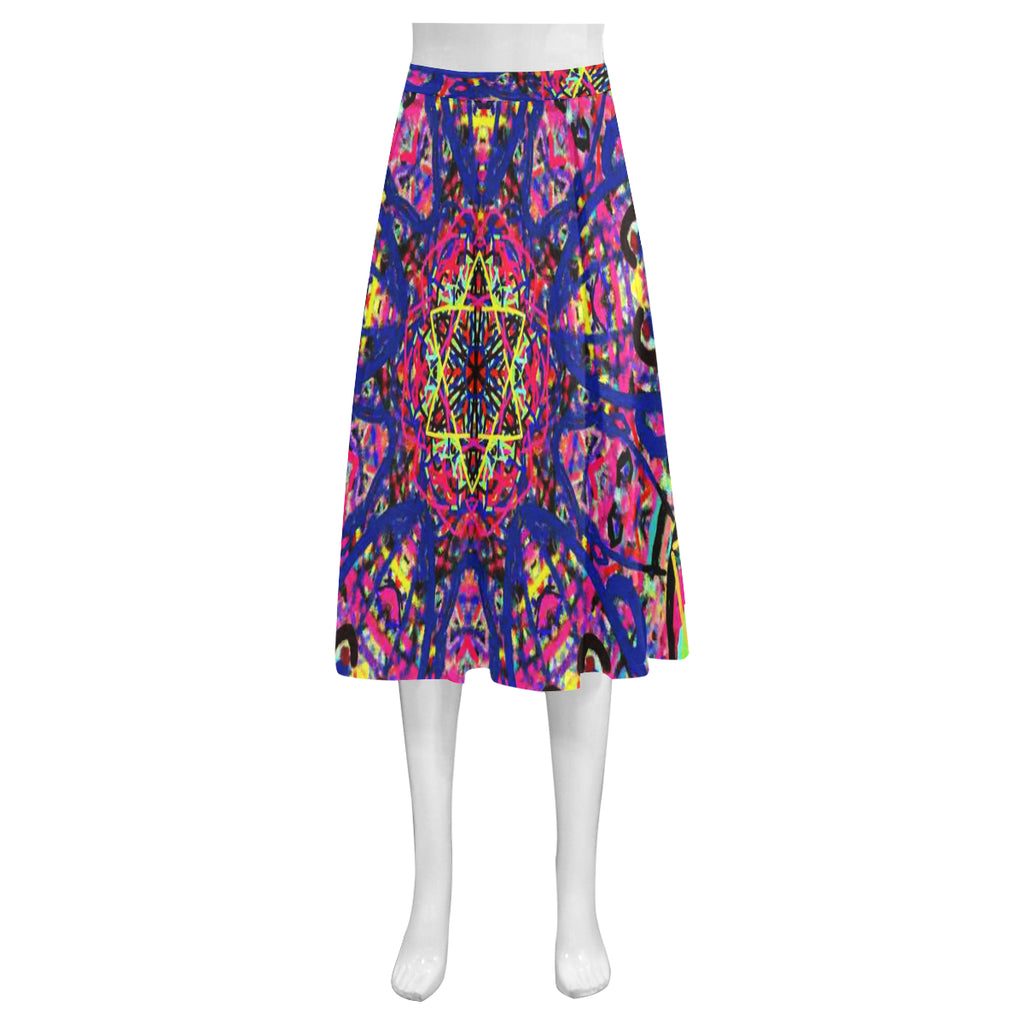 Thleudron Women's David Mnemosyne Women's Crepe Skirt (Model D16)