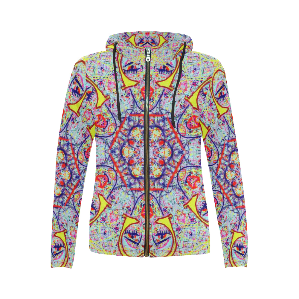Thleudron Women's Charleston All Over Print Full Zip Hoodie for Women (Model H14)