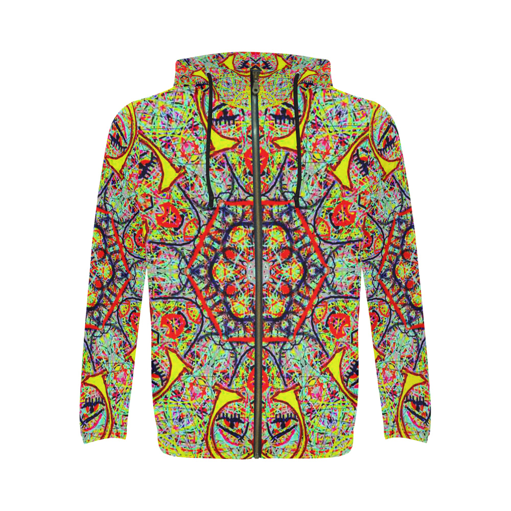Thleudron Charleston All Over Print Full Zip Hoodie for Men (Model H14)