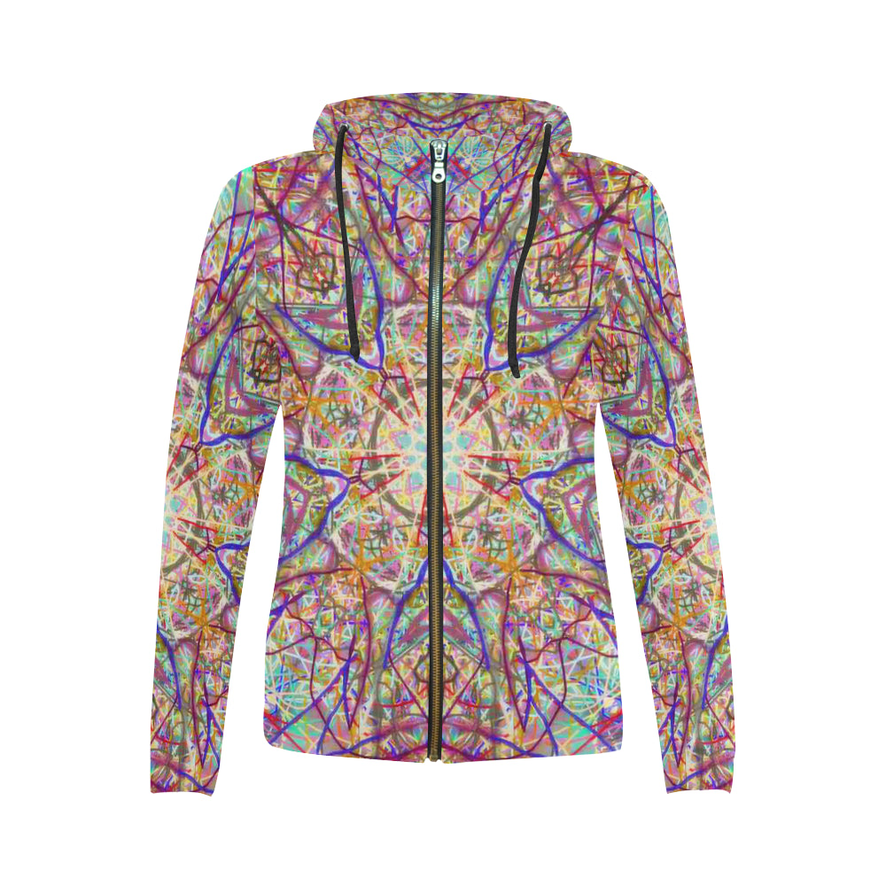Thleudron Singularity All Over Print Full Zip Hoodie for Women (Model H14)