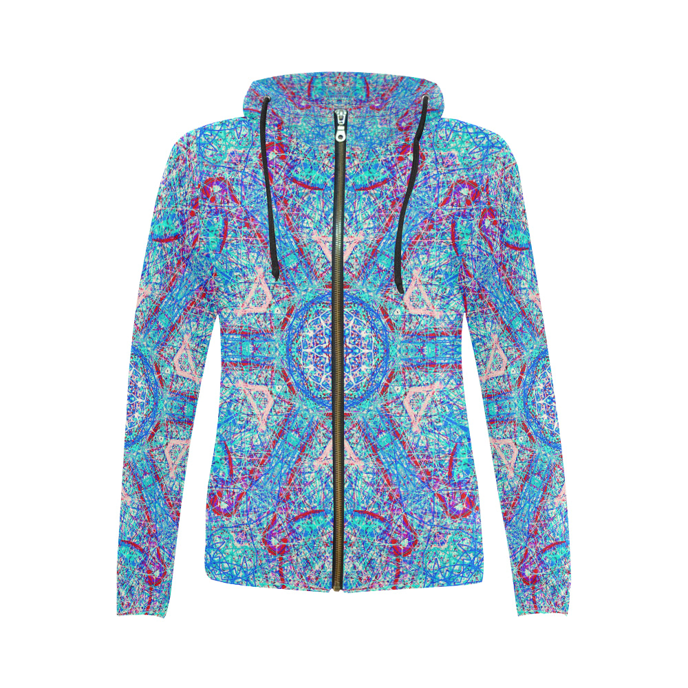 Thleudron Milkyway All Over Print Full Zip Hoodie for Women (Model H14) - Thleudron