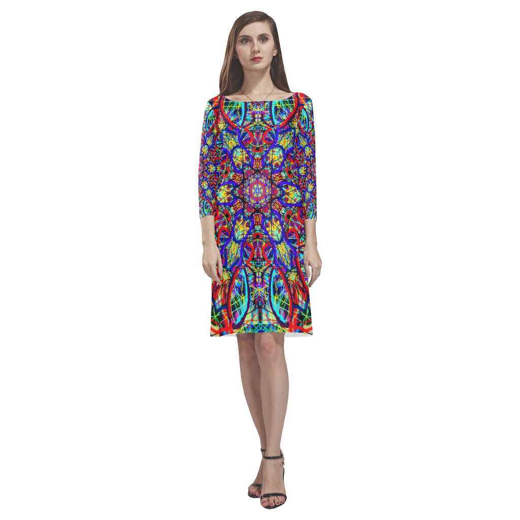 Thleudron Women's Visha Rhea Loose Round Neck Dress(Model D22)