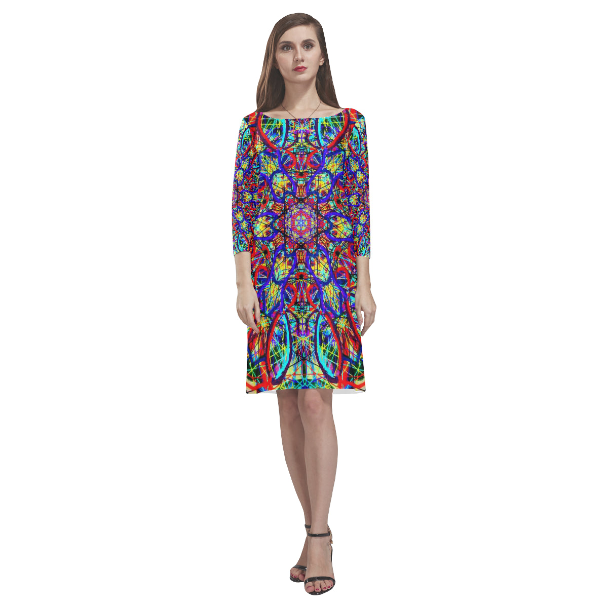 Thleudron Women's Visha Rhea Loose Round Neck Dress(Model D22) - Thleudron