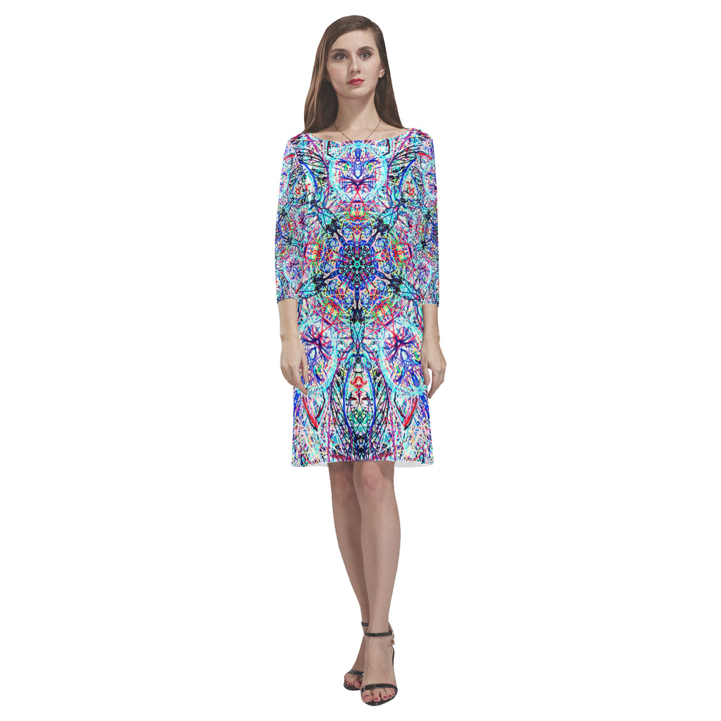 Thleudron Women's Tomcat Rhea Loose Round Neck Dress(Model D22)